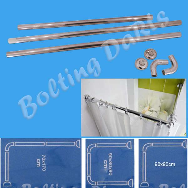 Shower Curtain U L Shape Corner Rail 3 Way 28mm Diameter