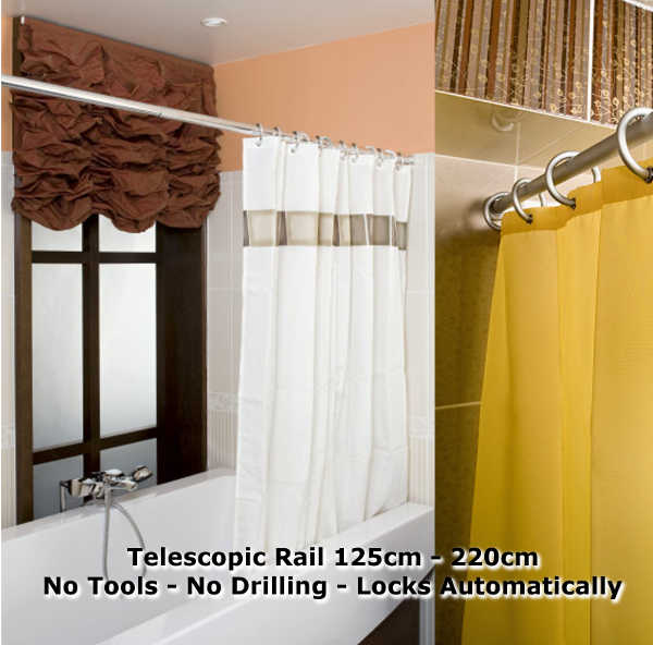 1 Silver Telescopic Shower Curtain Rail Extendable 125   220cm. No Tools    No Drilling   No Twisting   Locks Automatically