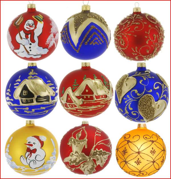 6 Glass Christmas Baubles Handmade Painted Balls Ball
